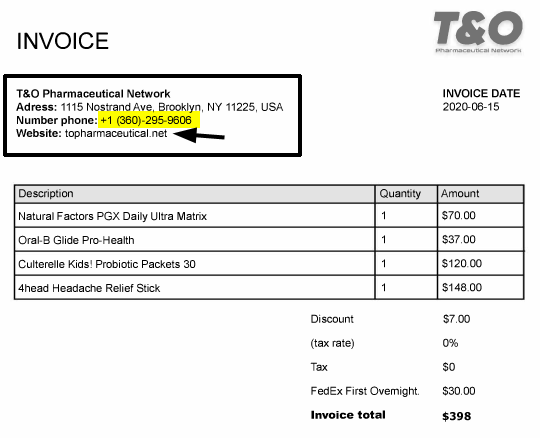 T&O Pharmaceutical Network invoice dated June 15, 2020