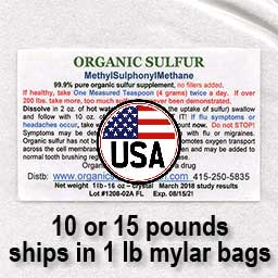 Order 10 or 15 pounds of Organic Sulfur
